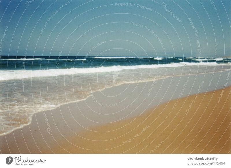 Atlantique Himmel blau Wasser Ferien & Urlaub & Reisen Meer Sommer Strand gelb Landschaft Küste Sand Horizont braun Wellen nass Tourismus