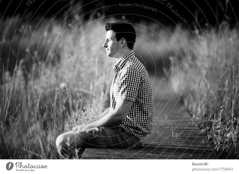 ein ruhiges Plätzchen Mensch Natur Ferien & Urlaub & Reisen Jugendliche Mann Landschaft Junger Mann Erholung Erwachsene Umwelt Leben Lifestyle Glück Freiheit
