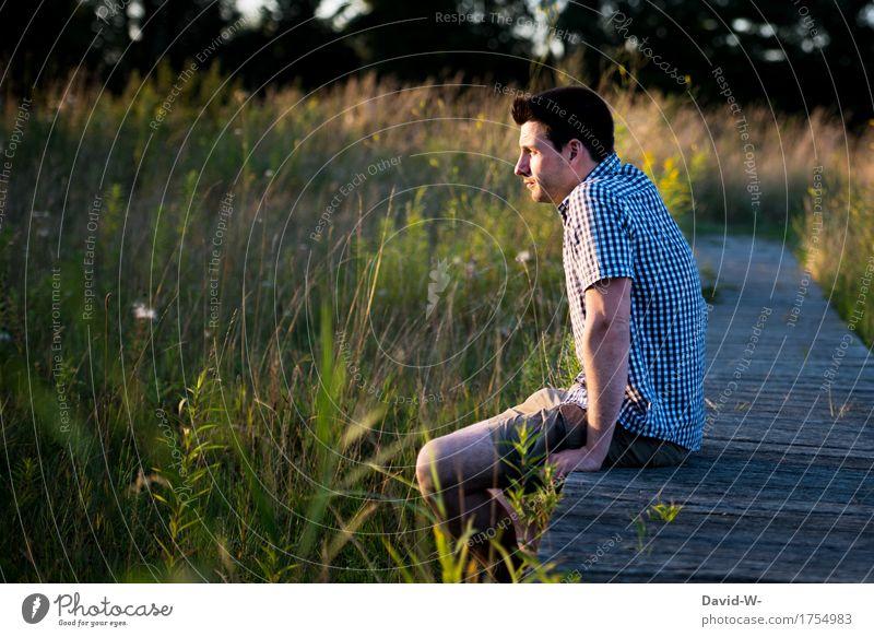 am Steg Mensch maskulin Junger Mann Jugendliche Erwachsene Leben 1 Umwelt Natur Landschaft Sommer Pflanze Sträucher Park See Fluss beobachten Trauer Sehnsucht