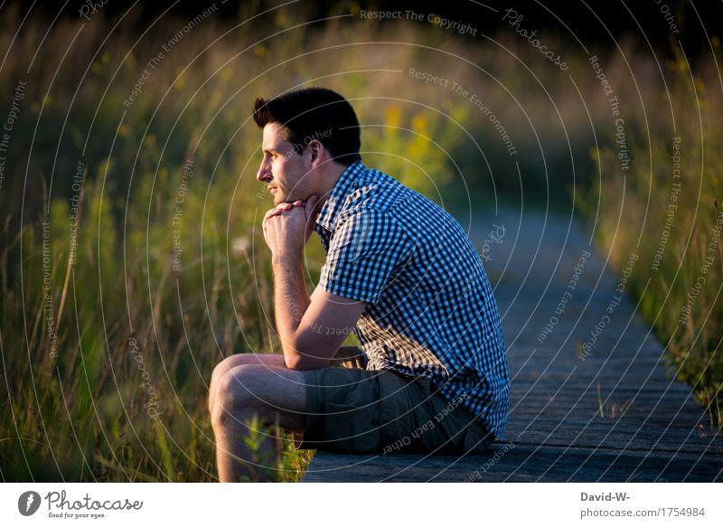 am Abend Mensch Natur Ferien & Urlaub & Reisen Jugendliche Mann Sommer Junger Mann ruhig Ferne 18-30 Jahre Erwachsene Umwelt Leben Lifestyle Gesundheit Glück