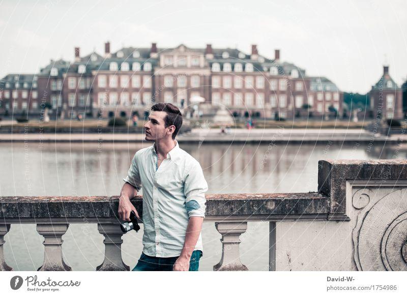 vintage Mensch Ferien & Urlaub & Reisen Jugendliche Mann Sommer schön Junger Mann Erholung Ferne Erwachsene Wand Leben Lifestyle Gesundheit Mauer Tourismus