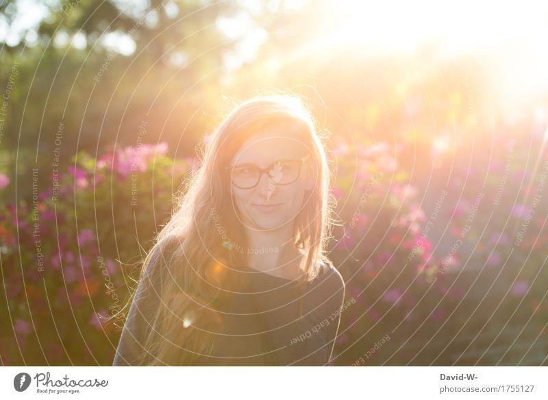 Sonnenstrahlen harmonisch Zufriedenheit Sinnesorgane Duft Freiheit Sommer Mensch feminin Junge Frau Jugendliche Erwachsene Leben 1 Kunst Kunstwerk Umwelt Natur