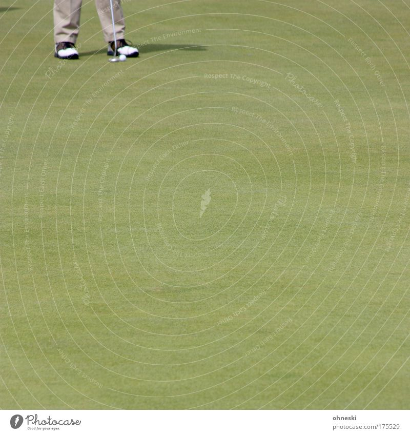 Das 18. Loch Außenaufnahme Textfreiraum links Textfreiraum rechts Textfreiraum unten Textfreiraum Mitte Tag Schatten Sport Putten Golf Golfplatz Spielen stehen