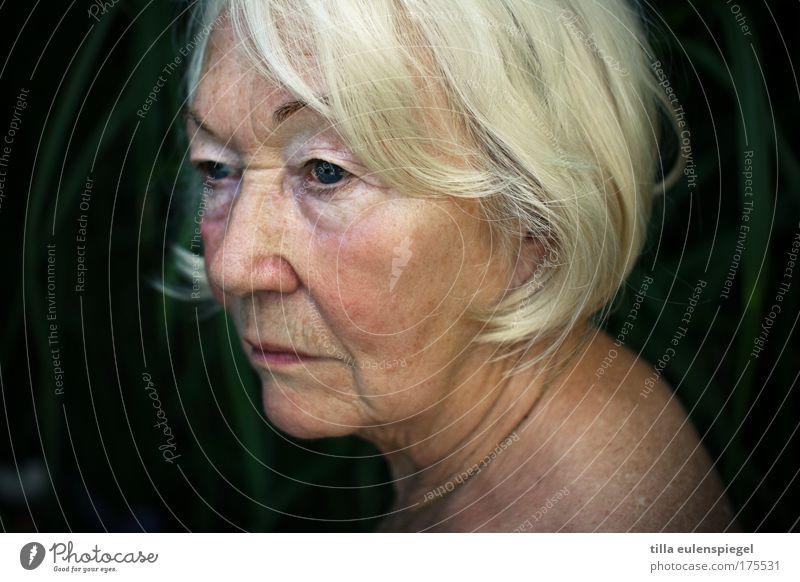 traurig schön Farbfoto Außenaufnahme Hintergrund neutral Tag Porträt Halbprofil Wegsehen feminin Weiblicher Senior Frau 1 Mensch 60 und älter weißhaarig alt