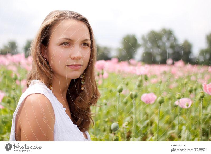 Mohnblume IV Mensch Natur Jugendliche Pflanze Erwachsene feminin Umwelt Haare & Frisuren Blüte Zufriedenheit elegant ästhetisch Lifestyle Bekleidung 18-30 Jahre