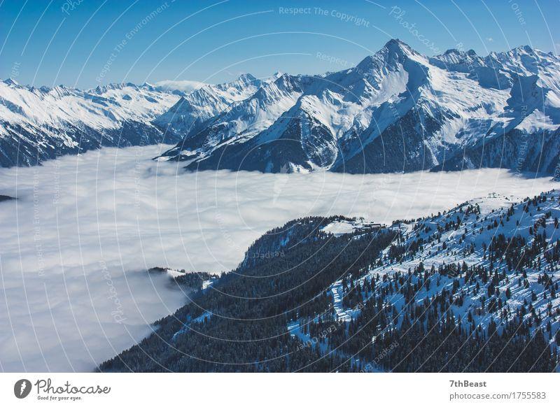 Gletscher-Alpen Himmel Natur Ferien & Urlaub & Reisen blau grün weiß Landschaft Wolken Ferne Winter Berge u. Gebirge Umwelt Schnee Freiheit Tourismus wild