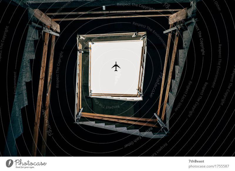 Flightover Stadt blau schön weiß dunkel Fenster schwarz Architektur Gebäude grau braun Treppe Verkehr authentisch beobachten Flugzeug