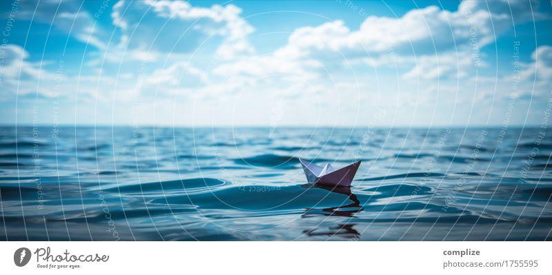 Paper Boat Panorama Himmel Ferien & Urlaub & Reisen Sommer Wasser Sonne Meer Wolken Freude Strand Umwelt Küste Spielen Business Schule Schwimmen & Baden See