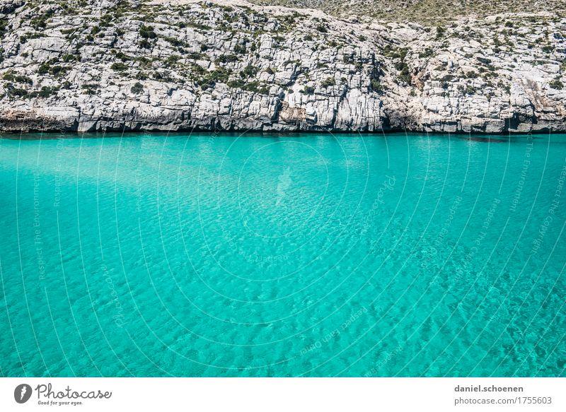 Mallorca Natur Ferien & Urlaub & Reisen blau Sommer Wasser Meer Einsamkeit ruhig Küste grau Felsen Wellen Urelemente Bucht