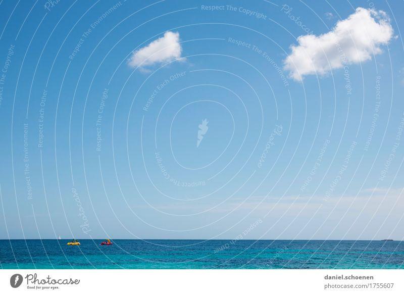 Viel,Himmel und Textfreiraum oben Ferien & Urlaub & Reisen blau Sommer weiß Sonne Meer Ferne Strand Tourismus Horizont Freizeit & Hobby Freundlichkeit