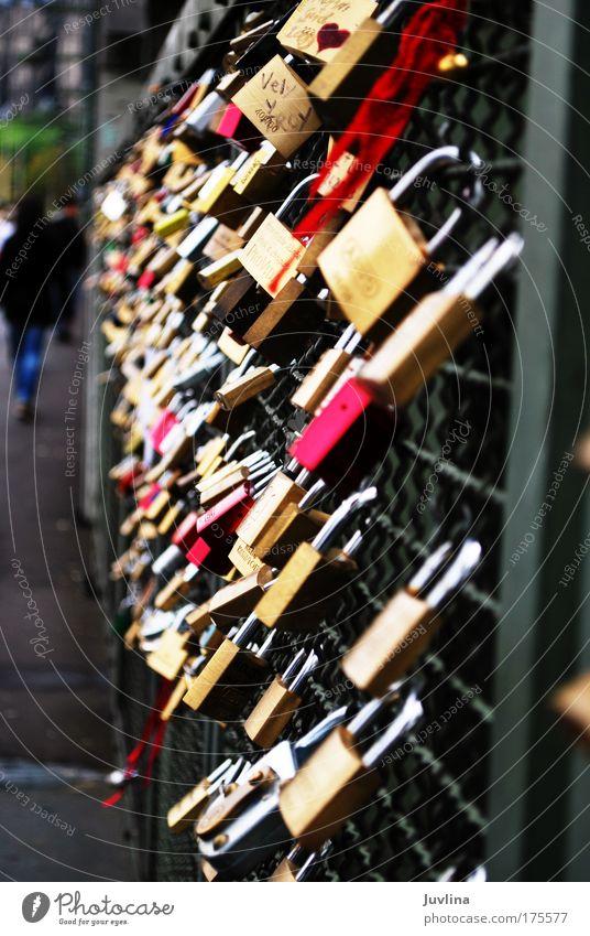 Brücke der Liebe Liebe Gefühle Glück Metall Zusammensein Herz Gold Brücke Schriftzeichen Dekoration & Verzierung Romantik Kitsch Stahl Rost Köln Sammlung