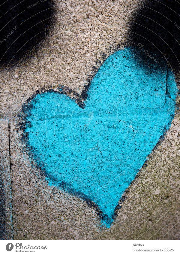 herzlich blau Jugendkultur Subkultur Mauer Wand Zeichen Graffiti Herz außergewöhnlich einzigartig positiv grau Sympathie Liebe Verliebtheit Design Freundschaft
