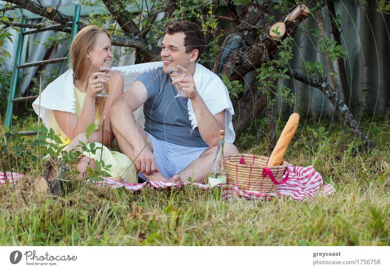Glückliches junges Paar beim Picknick auf dem Land. Sie sitzen auf dem Gras mit Gläsern von Wein mit Decke bedeckt. Romantische Momente zusammen Getränk Alkohol