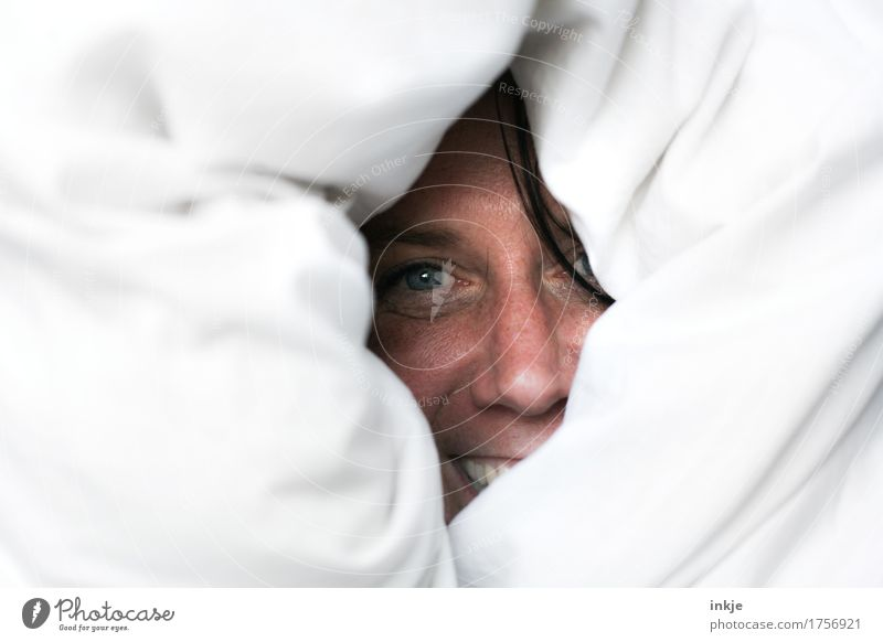 Frauengesicht schaut lachend aus Bettdecke Lifestyle Freude Freizeit & Hobby Erwachsene Leben Gesicht 1 Mensch 30-45 Jahre Bettwäsche Lächeln Blick Fröhlichkeit