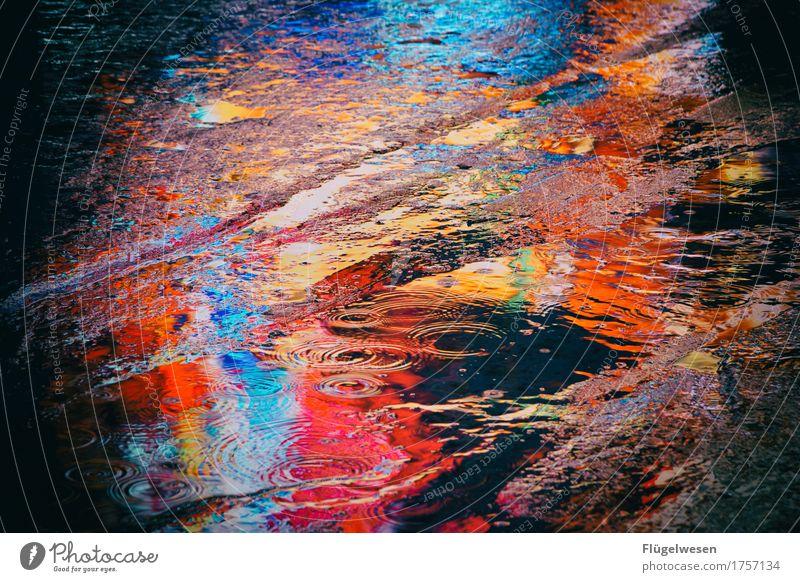 NYC Lights 25 New York City Manhattan Amerika USA Stars and Stripes Times Square Licht Reflexion & Spiegelung Pfütze Regen Regenwasser Farbe Farbstoff