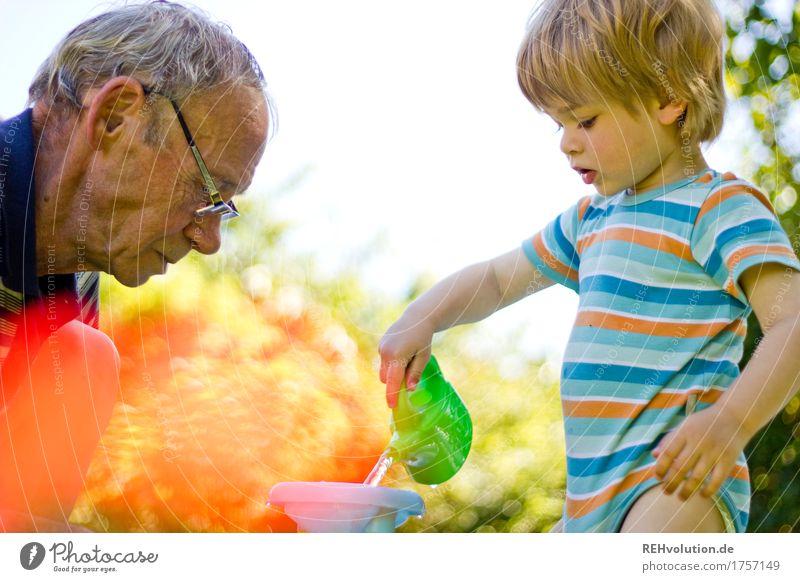 Opa mit Enkel im garten Mensch maskulin Kind Kleinkind Junge Mann Erwachsene Männlicher Senior Großvater Familie & Verwandtschaft Kindheit 2 1-3 Jahre