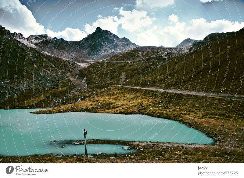 Kurort Farbfoto Außenaufnahme Natur Landschaft Erde Wasser Wolken Sommer Klima Wetter Berge u. Gebirge Gipfel Gletscher Stein Hinweisschild Warnschild Ferne