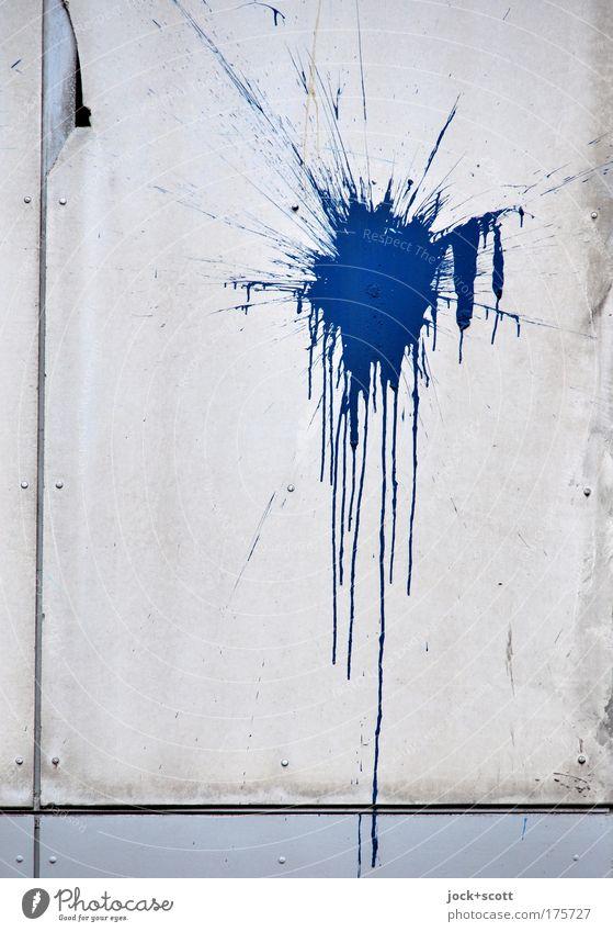 Flatsch! Fassade Farbstoff Wandverkleidung authentisch einzigartig trashig blau Stimmung Verzweiflung Aggression Kreativität protestieren Schwerpunkt Fleck
