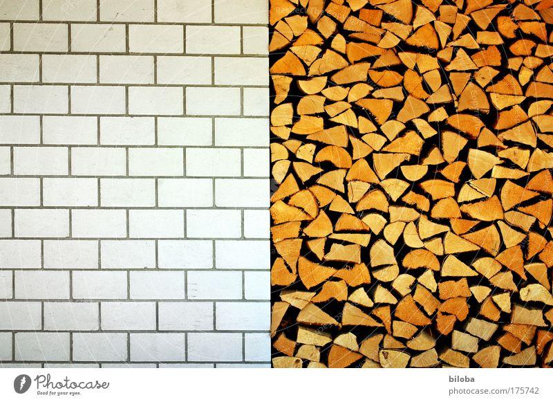 Holz vor dem Haus Sommer Wand Architektur Mauer Stein Gebäude braun Hintergrundbild Fassade außergewöhnlich Energie ästhetisch gut Bauwerk Dorf