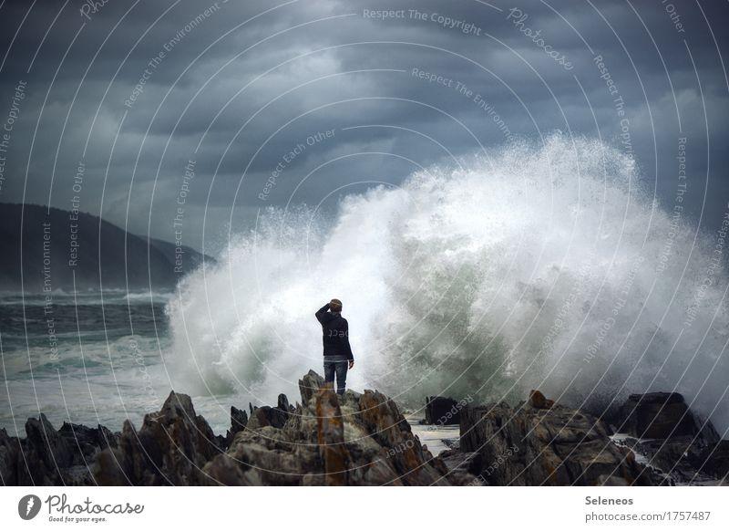 öhöm Mensch Himmel Natur Ferien & Urlaub & Reisen Wasser Meer Landschaft Wolken Ferne Umwelt natürlich Küste Tourismus wild Wellen Ausflug