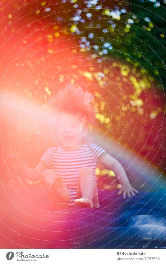 Luftpufferfreuden Mensch Kind Baum Freude Gefühle lustig Bewegung Junge Spielen lachen klein Glück Garten außergewöhnlich fliegen springen