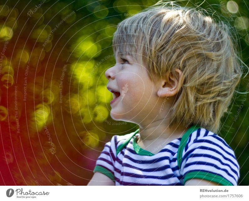 Sommerportrait Mensch Kind Natur grün Freude Umwelt sprechen natürlich Junge klein Glück Garten maskulin Zufriedenheit Kindheit Kommunizieren
