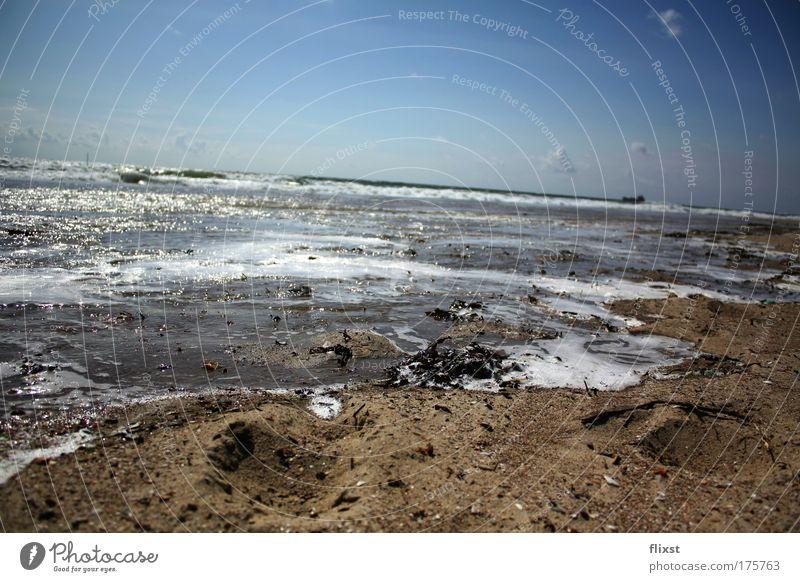 Wasser und Luft Himmel Meer blau Sommer Wolken Sand Landschaft braun Wellen Urelemente Ostsee