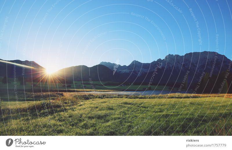 Guten morgen! Umwelt Natur Landschaft Sonnenaufgang Sonnenuntergang Frühling Sommer Schönes Wetter Alpen Berge u. Gebirge See leuchten frisch natürlich saftig