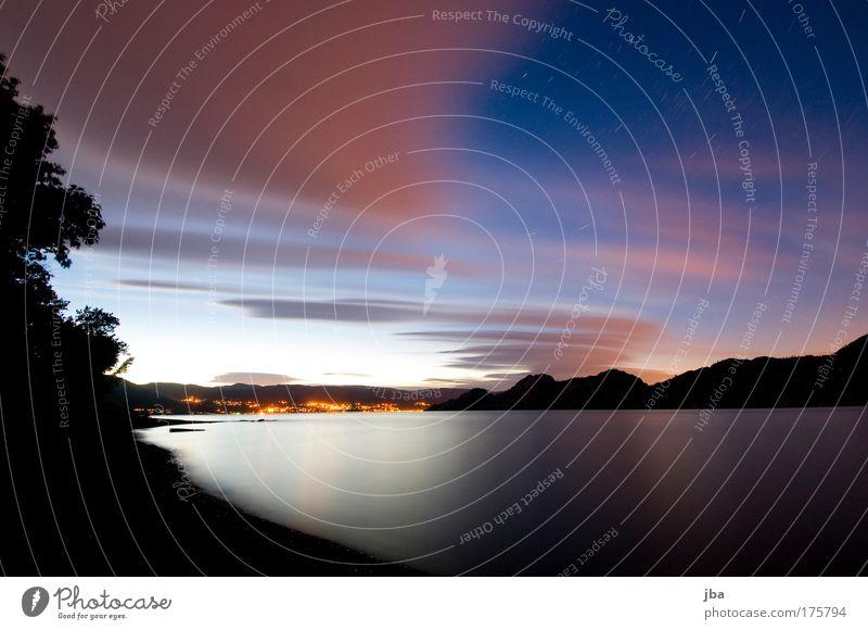 Okanagan Lake Farbfoto Außenaufnahme Experiment Abend Dämmerung Nacht Reflexion & Spiegelung Langzeitbelichtung Weitwinkel Freude Ferien & Urlaub & Reisen