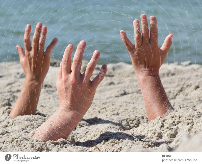 alles muss raus Haut Hand Finger 3 Mensch Umwelt Natur Landschaft Sommer Schönes Wetter Ostsee blau grau Sand Strand Ferien & Urlaub & Reisen Darß Farbfoto