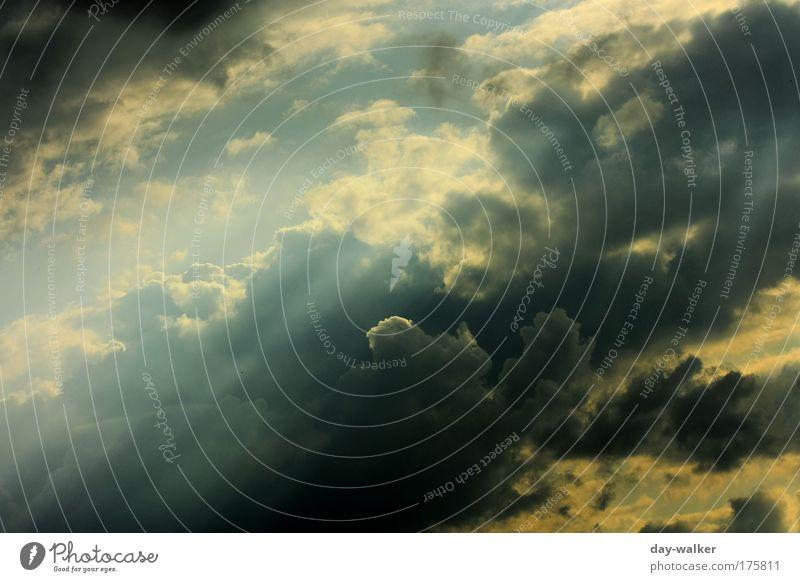 Es lichtet sich Natur Himmel weiß grün blau Sommer Wolken gelb grau Regen Luft Wind Wetter bedrohlich Sturm Gewitter