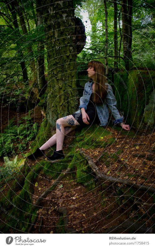 Carina | am Streinbruch Mensch feminin Junge Frau Jugendliche Erwachsene 1 18-30 Jahre Umwelt Natur Sommer Baum Wald Kleid Tattoo Haare & Frisuren brünett