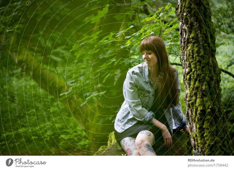 Carina | im Steinbruch feminin Junge Frau Jugendliche 1 Mensch 18-30 Jahre Erwachsene Umwelt Natur Sommer Baum Moos Wald Kleid Jacke Tattoo Piercing