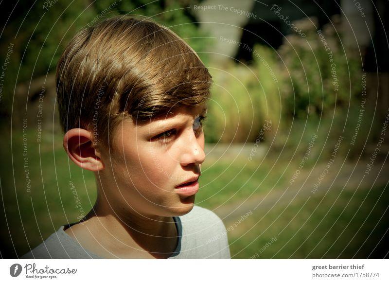 Junge im Garten Mensch maskulin Kind Bruder Familie & Verwandtschaft Kindheit Kopf 1 8-13 Jahre brünett kurzhaarig beobachten authentisch grün Zukunft Farbfoto
