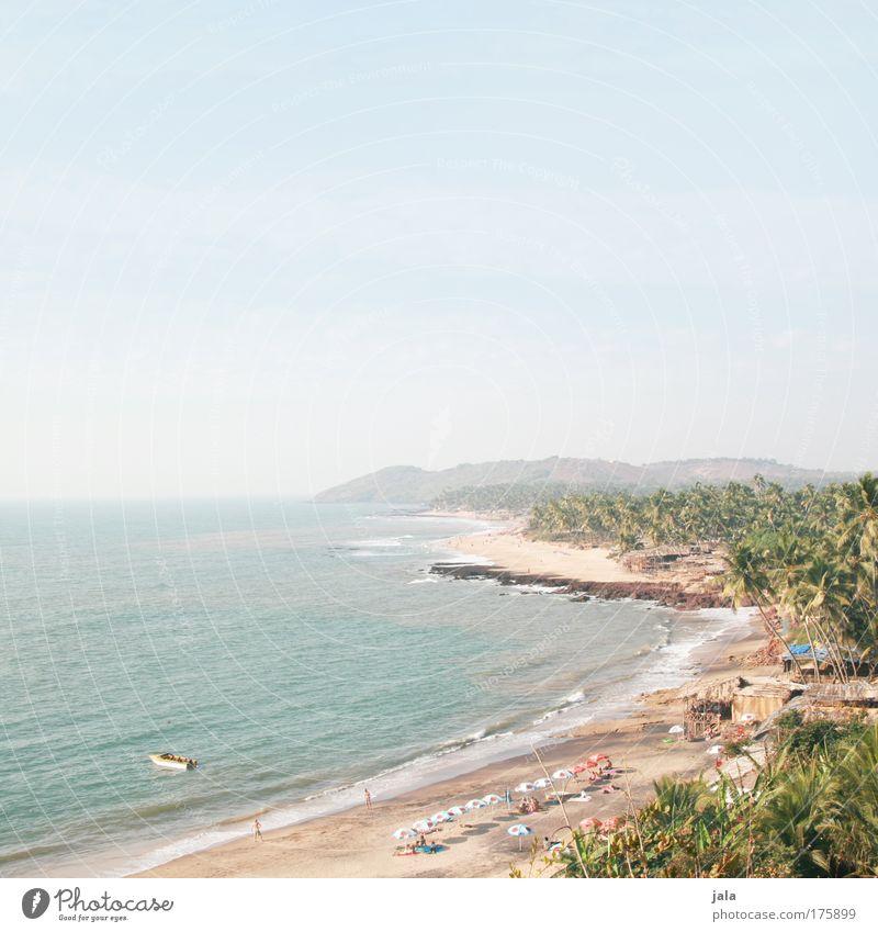 Anjuna Beach Farbfoto Außenaufnahme Textfreiraum oben Tag Licht Weitwinkel Ferien & Urlaub & Reisen Ferne Freiheit Landschaft Sand Wasser Himmel Schönes Wetter