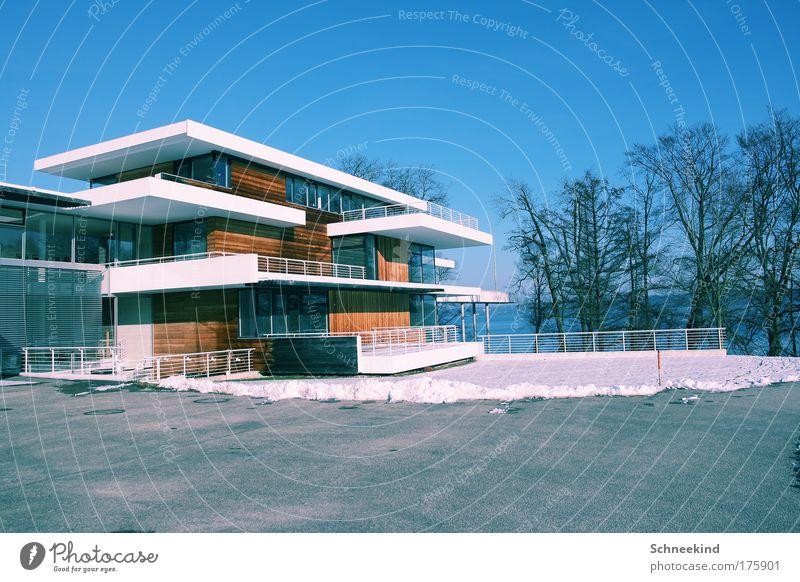 Haus am See Natur schön Himmel Baum Winter Stil Garten Landschaft Eis Küste Architektur elegant