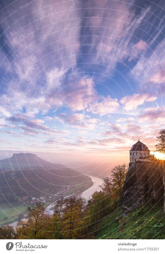 Lilienstein / Elbtal / Friedrichsburg Ferien & Urlaub & Reisen Berge u. Gebirge Natur Wolken Sonnenaufgang Sonnenuntergang Herbst Felsen Sehenswürdigkeit Stein