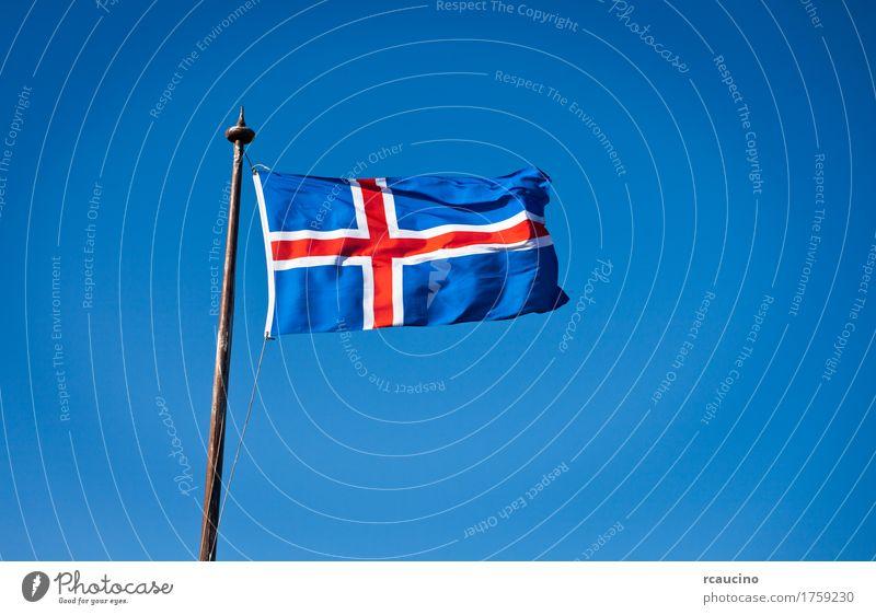 Die Zivilflagge von Island Himmel blau weiß rot Fahne