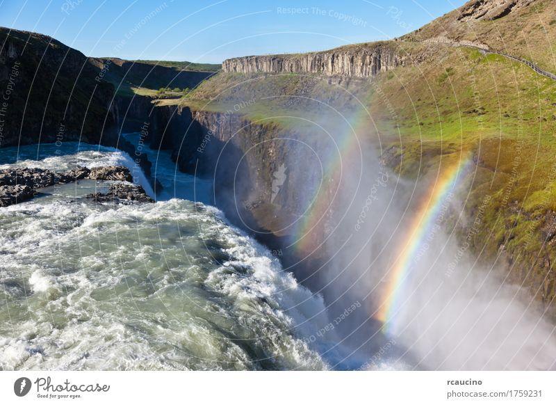 Wasserfall Gullfoss (goldene Fälle) gelegen in Südwest-Island Sommer Natur Landschaft Himmel Fluss blau Europa fallen goldener Herbst rcaucino Außenaufnahme