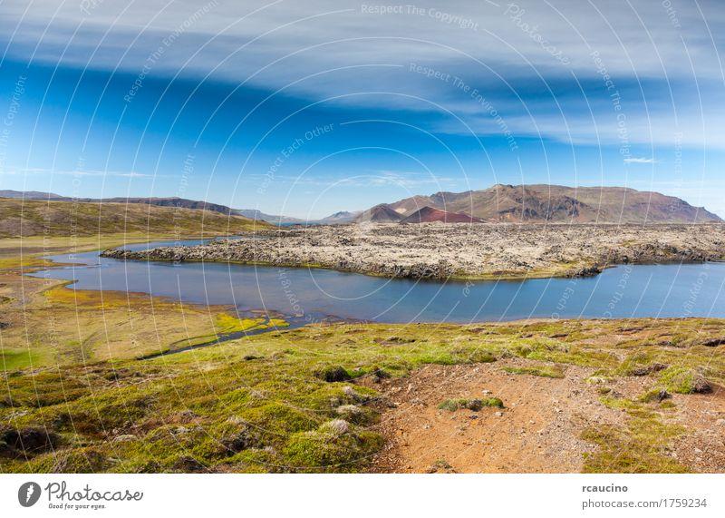 Selvallavatn, vulkanischer See in Snaefellsnes, Island. Himmel Natur Ferien & Urlaub & Reisen blau Sommer grün schön Landschaft Wolken Berge u. Gebirge