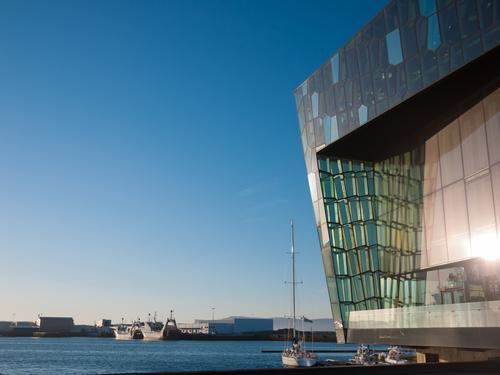 Harpa - Reykjavik Konzerthalle - Island, Europa Sommer Landschaft Architektur modern Hafen Jachthafen Reykjavík