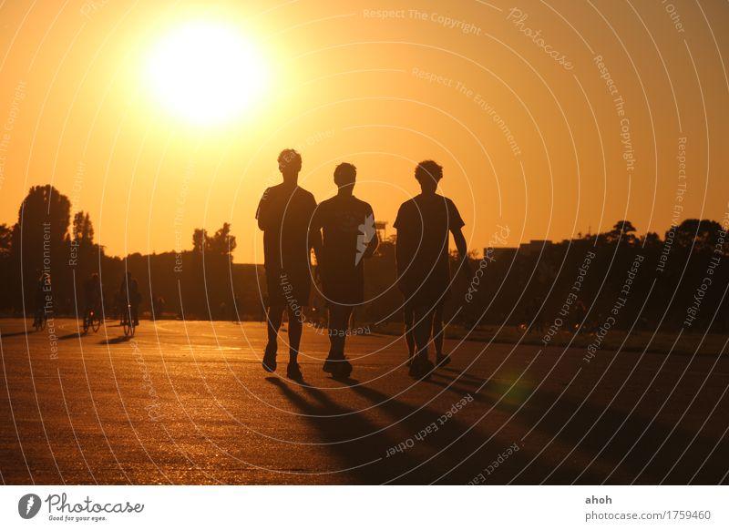 Tempelhofer Feld #3 Freude Freizeit & Hobby Sommer Sonne Feierabend Freundschaft Natur Landschaft Sonnenaufgang Sonnenuntergang Sonnenlicht Park Berlin Stadt