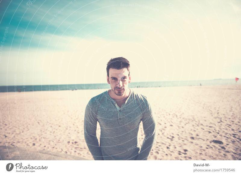 Strand Erholung ruhig Ferien & Urlaub & Reisen Tourismus Ausflug Ferne Sommer Sommerurlaub Sonne Meer Mensch maskulin Junger Mann Jugendliche Erwachsene Leben 1