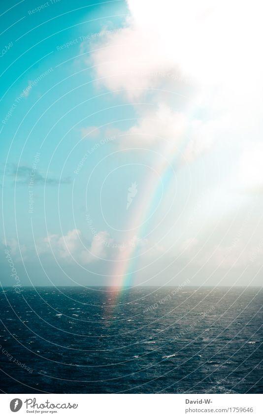 Regenbogen Kunst Umwelt Natur Landschaft Luft Wasser Wolken Sonne Sonnenlicht Sommer Schönes Wetter Wellen Meer gigantisch Gefühle träumen Liebe Naturphänomene