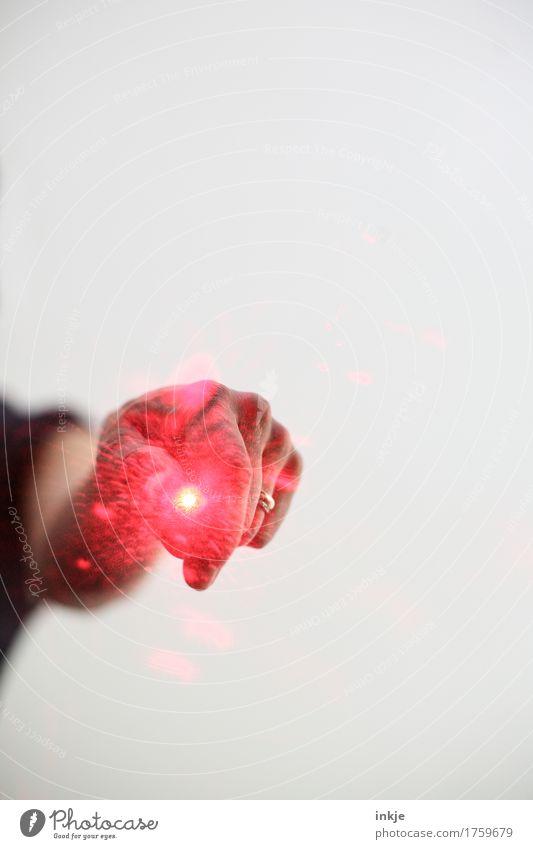 *brzzzl* Laserpointer Technik & Technologie Wissenschaften Hand Lichtpunkt Lichtspiel Lichteffekt Streulicht leuchten bedrohlich hell rot Vor hellem Hintergrund