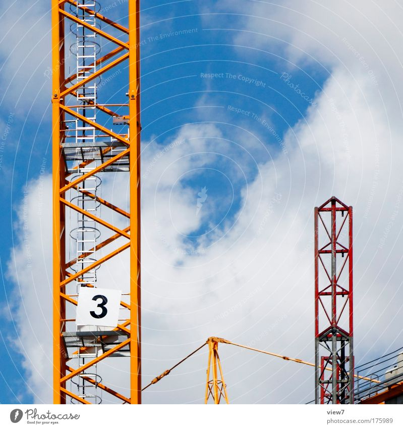 Nummer 3 Himmel rot Wolken gelb oben Metall frei groß Verkehr neu Zukunft Baustelle gut Güterverkehr & Logistik Ziel Ziffern & Zahlen