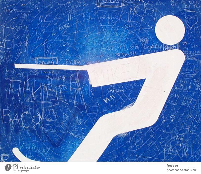 wasserski blau Sport Schilder & Markierungen Skifahren Fluss Oberfläche Kratzer