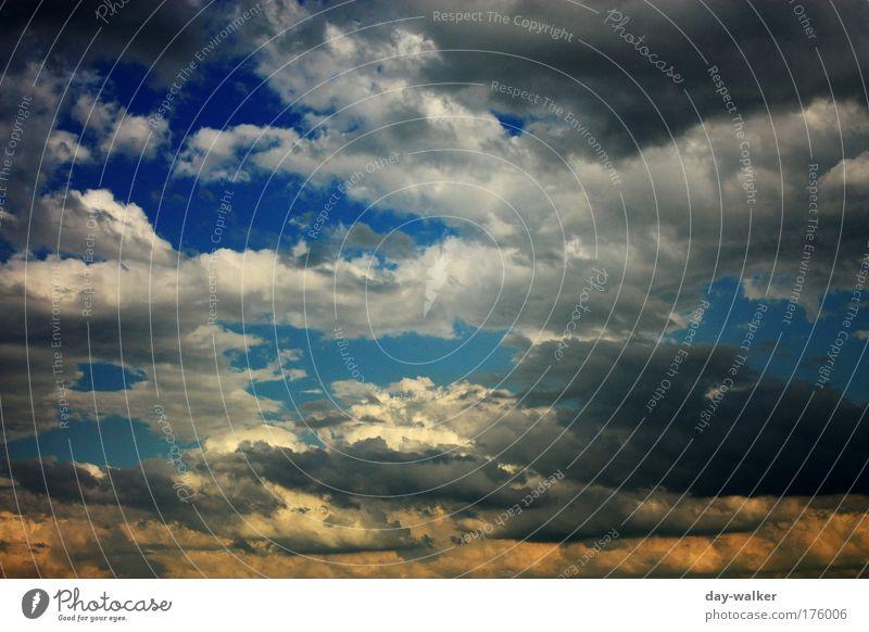 Coloured clouds Natur Himmel weiß blau Sommer Wolken gelb Landschaft Luft Wind bedrohlich Gewitter Unwetter Urelemente Klimawandel schlechtes Wetter