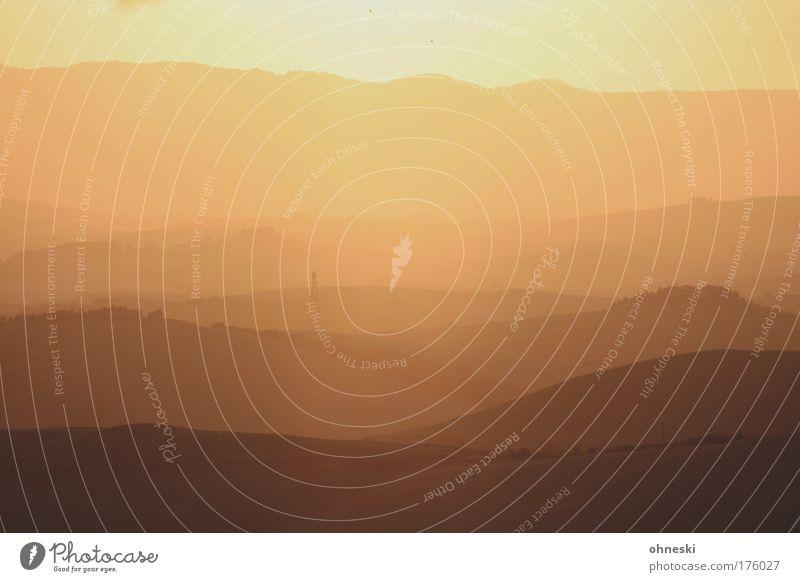 Gegenlicht Natur Baum Sonne Ferien & Urlaub & Reisen Sommer Ferne Erholung Landschaft Berge u. Gebirge Luft Horizont groß Feuer Sträucher Romantik Kitsch