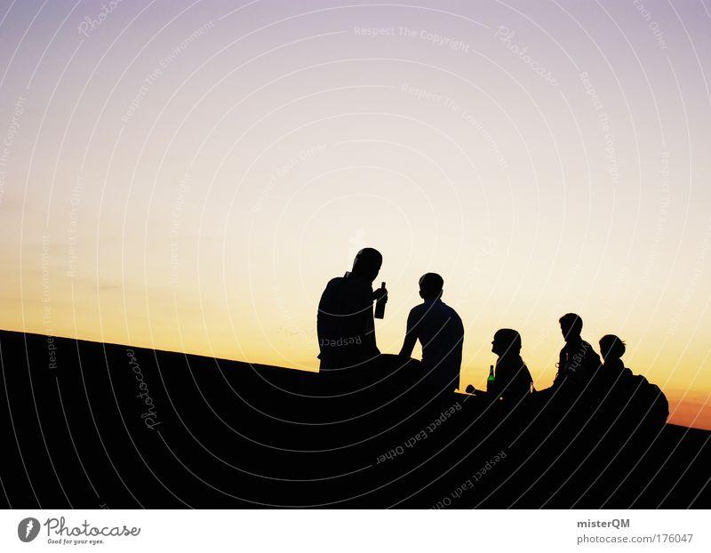 Cheers. Himmel Ferien & Urlaub & Reisen Jugendliche Farbe Erholung Freude Gefühle Glück Freiheit Party Freundschaft Horizont Zufriedenheit Freizeit & Hobby